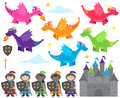 Vector Collection of Dragon and Knights Themed Images
