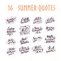 Vector collection of flat artistic hand written summer quotes on white background.
