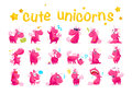 Vector collection of flat funny unicorns isolated on white background.