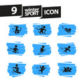 Vector collection of flat simple athlete silhouettes isolated on white background. Winter sport icons.
