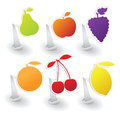 Vector collection of fruit stickers Royalty Free Stock Image