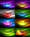 Vector collection of glowing neon shapes in dark abstract backgrounds Royalty Free Stock Photo