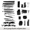 Vector collection with grunge brush strokes and paint stains. Black ink elements set.