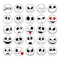 Vector Collection of Halloween Faces. The nightmare before christmas. Jack Skellington. halloween jack faces silhouettes Royalty Free Stock Photo