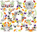 Vector Collection of Halloween Florals, Laurels and Wreaths Royalty Free Stock Photo
