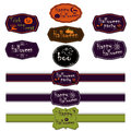 Vector collection of halloween ribbons and labels set different scrapbook elements illustration trick or treat concept elements Stock Photo