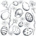 Vector collection of hand drawn ornate Easter eggs and spring flowers