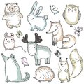 Vector collection of hand drawn wild forest animals.