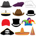 Vector collection of hats or photo props with pirate hat jester hat captains hat and sombrero Stock Images