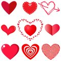 Vector collection of hearts on white background