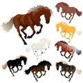 Vector collection horse colors Stock Photos