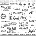 Vector collection inspirational drawn words of hand and phrases Royalty Free Stock Images