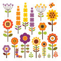 Vector collection of isolated flowers in autumn colors set retro warm with caterpillar and butterfly on white includes clipping Stock Photos