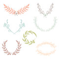 Vector collection of laurels, floral elements and banners Royalty Free Stock Photo