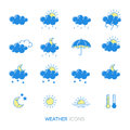 Vector collection of linear flat weather icons in blue and yellow colors.