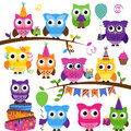 Vector collection of party or celebration themed owls colorful Royalty Free Stock Images