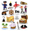 Vector collection of pirates clip arts, like treasure chest, ship wheel, pistol Royalty Free Stock Photo