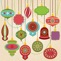 Vector Collection of Retro Christmas Ornaments Royalty Free Stock Photo