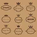 Vector collection of retro frames with crowns Royalty Free Stock Photo