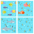 Vector collection of seamless backgrounds with cute fishes Stock Photos