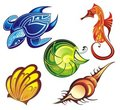 Vector collection of seashells and sea animals Royalty Free Stock Image