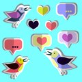 Vector collection, set of cute birds, hearts, stickers. Paper flat design
