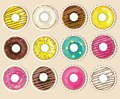 Vector collection, set of donuts stickers. Realistic glazed donuts