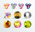 Vector collection of shine colorful gemstones isolated on white background.