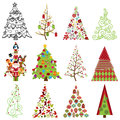 Vector collection of stylized christmas trees with doodle tree vintage flower tree and retro tree Stock Images