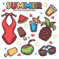 Vector collection of summer tropical line art objects, leaves, flowers, clothes, drinks for your design Royalty Free Stock Photo