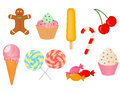 Vector collection of sweets colored Royalty Free Stock Images
