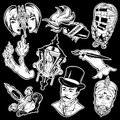 Vector collection of tattoos made in hand drawn vintage style.