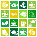 Vector collection tea icons colorful Royalty Free Stock Photo