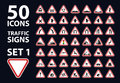 Vector collection of traffic warning sign red triangle road set 1 Royalty Free Stock Photo