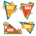 Vector collection of triangle bright sale tags, banners Royalty Free Stock Photo