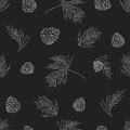 Vector Collection of Vintage Chalkboard Style Christmas Holiday Florals Royalty Free Stock Photo