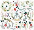 Vector Collection of Vintage Style Hand Drawn Christmas Holiday Florals Royalty Free Stock Photo