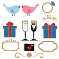 Vector collection of wedding objects Royalty Free Stock Photo