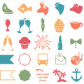 Vector collection of wedding and party themed icons badges Stock Image