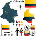 Vector of colombia set with detailed country shape with region borders flags and icons Royalty Free Stock Photos
