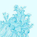Vector color abstract hand-drawn background with waves Royalty Free Stock Photo