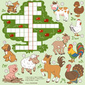 Vector color crossword, education farm animals