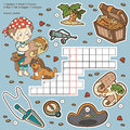 Vector color crossword, education game about pirates
