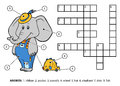 Vector color crossword. Elephant with a toy