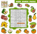 Vector color crossword about fruits. Word search puzzle Royalty Free Stock Photo