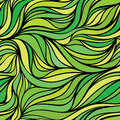 Vector color hand-drawing seamless wave background. Green abstr