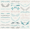 Vector Color Hand Drawn Dividers, Branches, Swirls Royalty Free Stock Photo