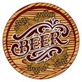 Vector color illustration with beer barrel and hop