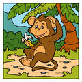 Vector color illustration little monkey with a banana for children Stock Photography