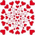 Vector mandala, red hearts in circle